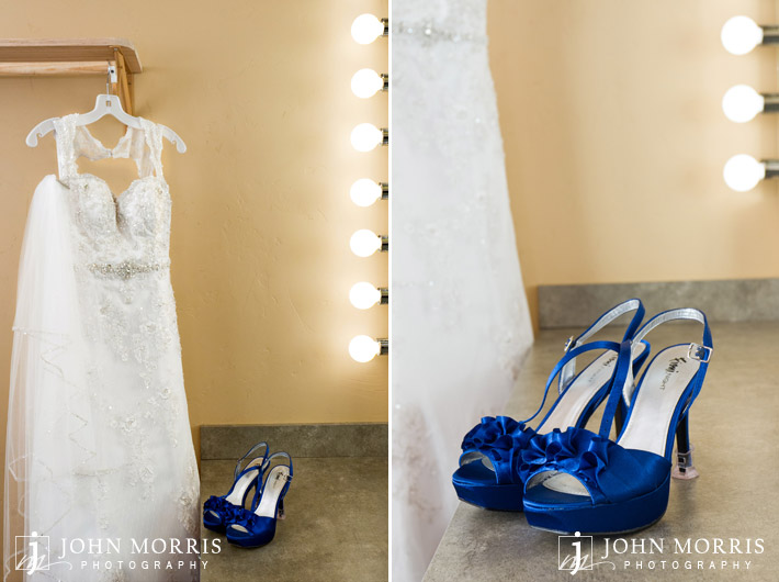 Lace wedding dress with blue shoes