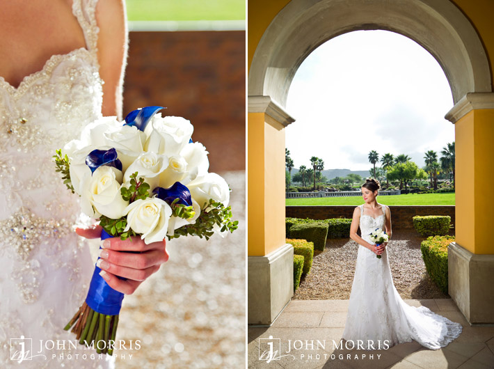 Bride at Siena Golf Club and white bridal bouquet