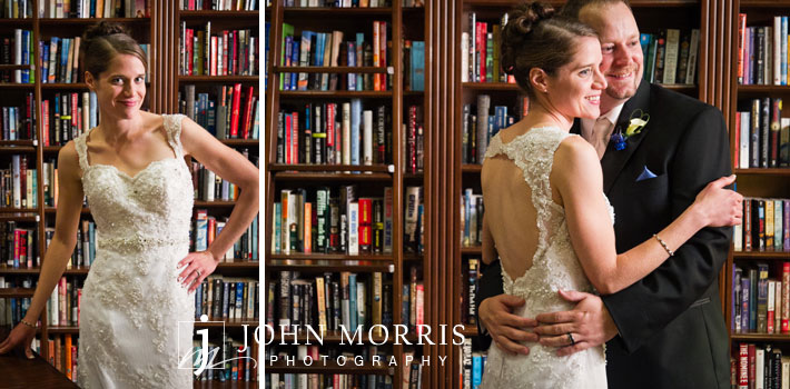 Bride and groom in Siena Golf Club library